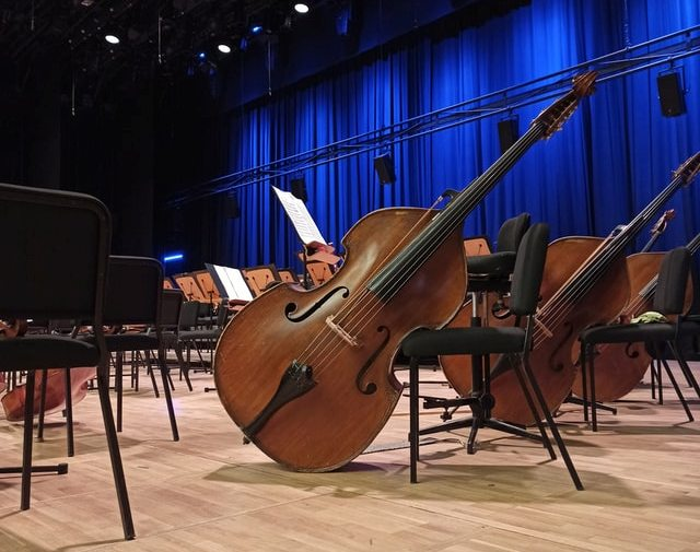 Pictures of Cello on Concert Stage